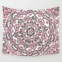 Pink Wall Tapestry happy place doodle in berry pink, cream & mauve wall tapestry