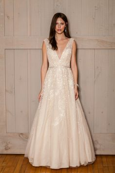 Melissa Sweet Wedding Dress with Plunging Neckline at David's ...
