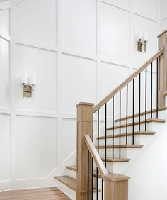 Timeless & simple make for a beautiful staircase ✨ . Home Renovation, Home Remodeling, Stair Paneling, White Wall Paneling, Wall Panelling, House Stairs, Staircase In Living Room, Staircase Walls, Staircase Molding