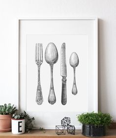 Cutlery - Poster Eat, Drink and Be Merry with a Cutlery Poster If you love food and the gourmet lifestyle, we have the perfect wall print for you. Our stunning Cutlery Poster is done in an old-fashioned etching style, comprised of beautiful black and white shading and symmetrical lines. The tableware is intricately decorated with ornate flourishes of design and smooth lines.