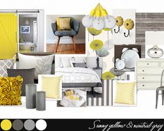 yellow bedroom by sheilah. Create your own interior design moodboard now! Yellow Gray Bedroom, Grey Yellow, Mellow Yellow, Yellow Bedrooms, White Bedroom, Color Yellow, Bedroom Color Schemes, Bedroom Themes, Bedroom Colors