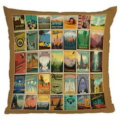 Anderson Design Group City Pattern Border Polyester Throw Pillow