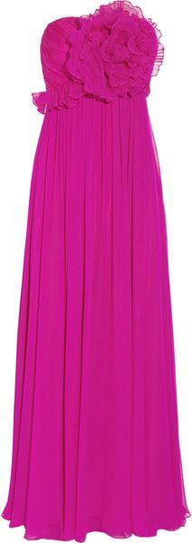 Notte By Marchesa Embellished Silkchiffon Gown in Purple (fuchsia)