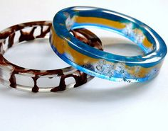 Resin bangles | by ~wingnutmagnet~ Cuff Bracelets, Bangles, Ice Resin, Resin Jewelry, Sparkle, Clay, Epoxy, Rings, Photos