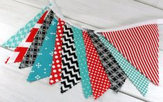 Bunting Banner, Photo Prop, Fabric Flags, Birthday Decoration, Nursery Decor, Garland - Red, Teal, Turquoise, Black, Chevron, Dots,Geometric...