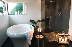 Hanne valgte et praktisk SpaBad i drømmehuset sitt – Hurricane SpaBad Barbacoa, Terrazzo, Spa, New Homes, Interior, Bathroom, Tiny Houses, Washroom, Small Homes