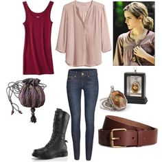 Hermione Granger-Harry Potter and the Deathly Hallows Part 1 Mode Harry Potter, Harry Potter Style, Harry Potter Outfits, Harry Styles, Emma Watson, Deathly Hallows Part 1, Character Inspired Outfits, Fandom Fashion, Fandom Outfits
