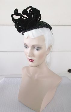 1940s Vintage Black Sequin Cocktail Hat with by MyVintageHatShop
