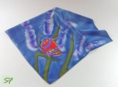 Silk Neckerchief, Small Square Silk Satin Scarf, Hand Paint with Butterfly, Batik Scarf, Blue Purple Silk Scarf, Woman Neckerchief Scarf by SilkFantazi on Etsy