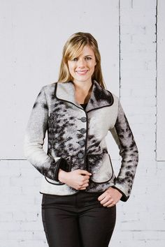 This Boiled Wool jacket is like a cozy Fall blanket wrapped around you.  As easy to wear as a cardigan, and stylish, too!  (Pattern placement will vary with each piece.)  Sewn in California!