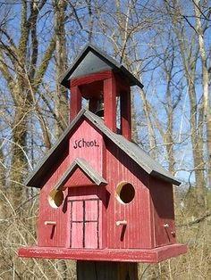 School House Birdhouse Rustic Country Decor Bell Tower Folk Art Primitives | eBay
