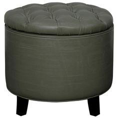 Avery Bonded Leather Tufted Round Storage Ottoman, Vintage Gray - Harrington Galleries