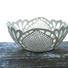 Porcelain lace bowl by Isabelle Abramson