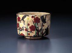 乾山色絵槍梅図茶碗 けんざんいろえやりうめずちゃわん 江戸時代中期 18c