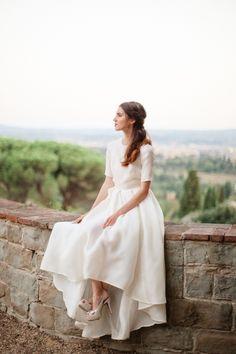 Vintage half sleeve wedding dress: http://www.stylemepretty.com/2016/12/15/best-wedding-dresses-of-2016/ Photography: Sandra Aberg - http://www.sandraaberg.com/