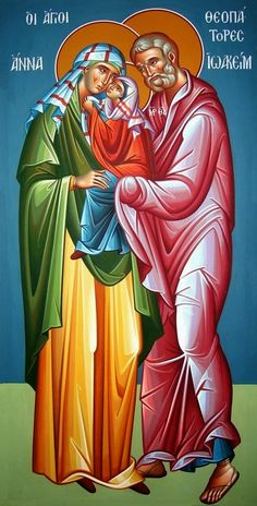 Saints Joachim and Anna with the Most Holy Theotokos Religious Pictures, Religious Icons, Religious Art, Byzantine Icons, Byzantine Art, Saint Joachim, Mary Magdalene And Jesus, Luke The Evangelist, Life Of Jesus Christ