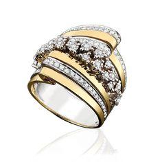Anel de Ouro Branco e Amarelo com Diamantes.Maravilhoso!