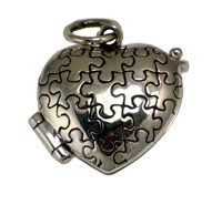 You are sure to love the beautiful new design of our Sterling Silver Heart Shaped Autism Awareness Prayer Box.  Crafted of genuine sterling silver.