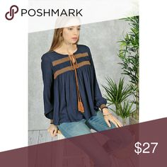 Navy Blue Long Sleeve Boho Blouse With Contrast Smocking detail, us sizing Tops Blouses