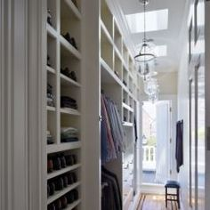 excellent use of long narrow space - shelves to ceiling & skylights. nice. Hallway Closet, Master Bedroom Closet, Closet Space, Man Closet, Boys Closet, Bedroom Closets, Upstairs Hallway, Long Hallway, Master Bedrooms