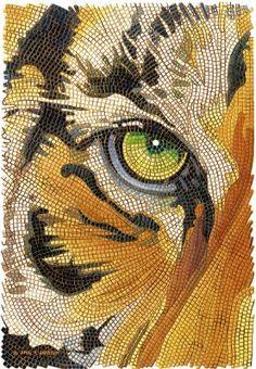 Tiger Tiles, watercolor by Paul JacksonShop Tiger Tiles Tiger Face Mosaic Watercolor Postcard created by PaulJacksonart. Dot Art Painting, Mandala Painting, Mandala Art, Paul Jackson, Watercolor Postcard, Mosaic Portrait, Mosaic Animals, Mosaic Artwork, Tiger Art