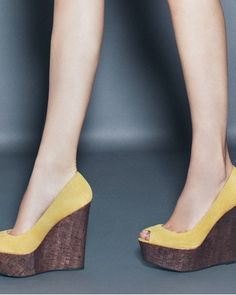 Shoes from shoemint Cute Shoes, Me Too Shoes, Brown Wedges, Yellow Shoes, Yellow Dress, Peep Toe, Walk This Way, It Goes On, Wedges