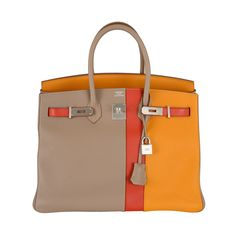 HERMES 35CM TRI COLOR CASAQUE BIRKIN WITH BRUSHED PAL HW