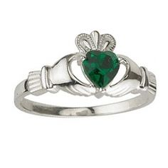 Christmas Gift Idea Silver Claddagh Ring set with the Birthstone of Your Choice