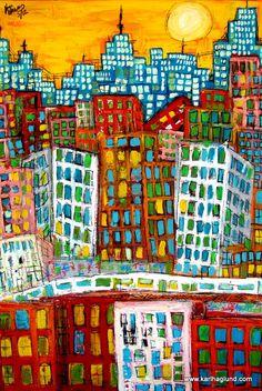 City of Bones - Abstract - Expressionism City art print.