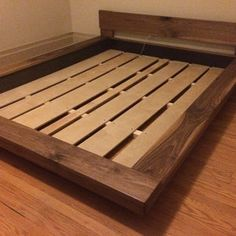 King, Queen, Real Walnut, Asian, Japanese, Floating Style, Platform Bed,  Solid Wood, Hand Rubbed Satin Finish, No Stain Needed