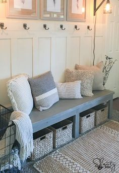 DIY $25 Farmhouse Bench & YouTube Video. Love the mismatched pillows in a variety of colours and textures!