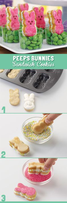 This pan makes it easy to make Peeps® shaped sandwich cookies!