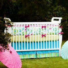 Baby Crib Bedding | Baby Girl Crib Bedding in Bold Modern Floral