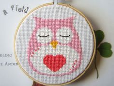 Owl Heart Valentine Cross Stitch PDF Pattern