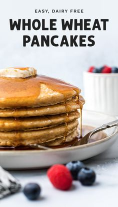 This simple (and easy) whole wheat pancakes recipe is a delicious and healthy way to start your day. Make your own batch of fluffy dairy free pancakes from scratch without the hassle. They're so good that the kids will beg for more! #healthybreakfast #pancakes