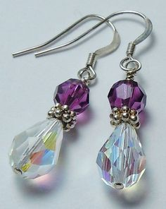 Swarovski Crystal Beaded Earrings - You choose the birthstone color. Swarovski Crystal Beaded Earrings You choose by BestBuyDesigns Swarovski Crystal Beads, Swarovski Jewelry, Crystal Jewelry, Wire Jewelry, Beaded Jewelry, Gold Jewellery, Jewlery, Jewelry Storage, Silver Jewelry
