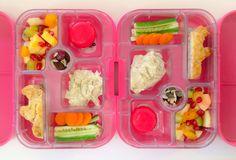 15062014 - apple, kiwifruit, peach, pear, pineapple, pomegranate, babybel cheese, mutabel, carrot, cucumber, banana breakfast muffin, dried cranberries, pumpkin seeds, sultanas, sunflower seeds