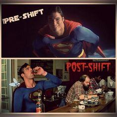 Everyone has good days and bad days! Take it easy Superman, your shift never ends.... #neverendingshift #serversbelike #barflysms #preshift #postshift #bartender #bartenderlife #johnnywalker #johnnywalkerredlabel #redlabel #whiskey #serverlife #server #pixlr #betterbar #customerservice #drunkbartender #drunk #drinkingonthejob #tbt #throwbackthursday #superman #comicon #PhotoGrid
