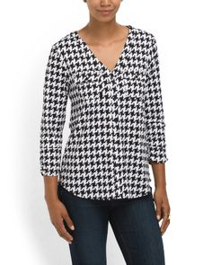 Houndstooth Button Down Blouse - View All - T.J.Maxx