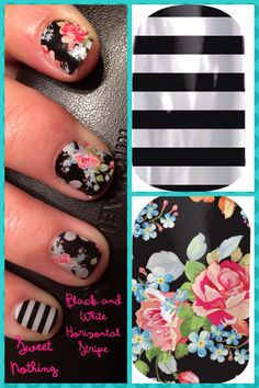Jamberry manicure: Sweet Nothing with Black and White Horizontal Stripe accent!