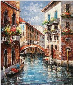 Venice oil painting,Venice oil paintings - Cities oil painting Red ... #OilPaintingIdeas #OilPaintingRed #OilPaintingScenery