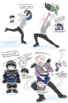 Viktor x Yuuri lovechild :P Yuri! On Ice Victuri Manga Anime, Me Anime, Anime Stuff, Victor Y Yuri, Yuri On Ice Comic, Yuuri Katsuki, ユーリ!!! On Ice, Familia Anime, Mundo Comic
