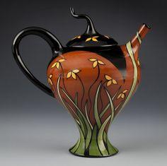 Marti Mocahbee teapot curved line drawing grasses pottery ceramics clay Pottery Teapots, Ceramic Teapots, Ceramic Clay, Ceramic Pottery, Pottery Art, Teapots Unique, Sculptures Céramiques, Teapots And Cups, Tea Art