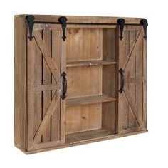 Kate and Laurel Cates Rustic Wood Wall Storage Cabinet with Barn Doors Wall Storage Cabinets, Wall Mounted Bathroom Cabinets, Cabinet Decor, Wall Shelves, Bathroom Medicine Cabinet, Gun Cabinets, Wall Bar Cabinet, Wood Gun Cabinet, Bathroom Cabinets Over Toilet