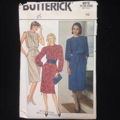 Uncut Butterick Pattern 6679 Womens Size 10 Misses Dress Pullover Blouson VTG