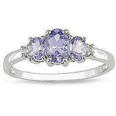 @Overstock Gorgeous tanzanite and diamond ring Jewelry made of 10k white gold. Beautiful!