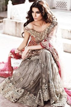 Grey and red bridal dress from Elan bridal collection http://www.elan.pk/row/bridal-studio/