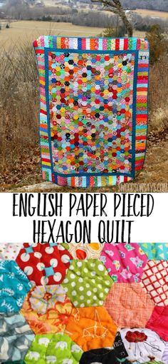 See a beautiful English Paper Pieced Hexagon quilt made from hand stitched hexies. Modern fabric scrap I Spy quilt with unique borders! #quilt #hexie #englishpaperpiecing