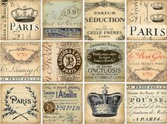INSTANT DOWNLOAD diGital CoLLaGe Sheet PaRiS ViNtaGe EpHeMera GiFt TagS PriNtaBle VintAge LaBelS FreNch SCriPts StaiNed TouR EiFFel, No. 168