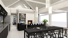 Showing loft space above bedroom areas - making use of raking roof area Eunoia - Living Baches :: Architecturally Design Bach Options Nest Building, Built In Bookcase, Loft Spaces, Sweet Home, Indoor, Bedroom, Architecture, Live, Larry